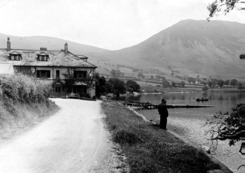 The now vanished Anglers Hotel overlooking Ennerdale Water.