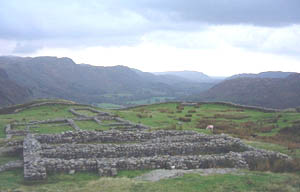 Hardknott roman fort in its fantastic setting in the mountains